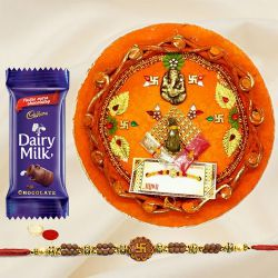 Auspicious Decorative Rakhi Thali, 1 Dairy Milk and Rakhi on Raksha Bandhan