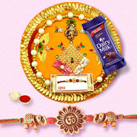 Auspicious Decorative Rakhi Thali and Rakhi on Raksha Bandhan