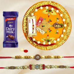 Designer Rakhi Thali, Two Rakhi and 1 Dairy Milk for your Cute Brother