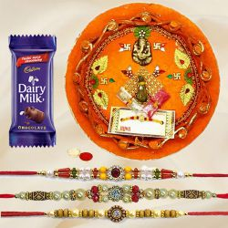 Attractive Selection of Rakhi Thali, 1 Dairy Milk and 3 Rakhi on Raksha Bandhan