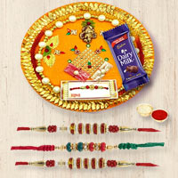 Attractive Selection of Rakhi Thali and 3 Rakhi on Raksha Bandhan