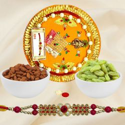 Designer Gift of 1 Rakhi, Almonds N Raisins with Rakhi Thali for your Loving Brother on Rakhi Occasion