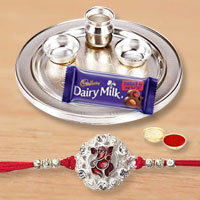 Gorgeous Collection of Silver Plated Thali with 1 Rakhi on Raksha Bandhan