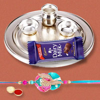Splendid Rakhi Special Gift of Silver Plated Rakhi Thali, Rakhi with 1 Dairy Milk 95 gr. for your Loving Brother