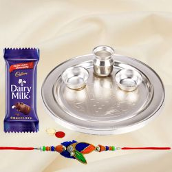 Splendid Rakhi Special Gift of Silver Plated Rakhi Thali and Rakhi for your Loving Brother
