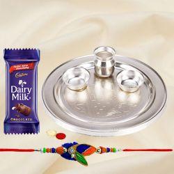 Splendid Rakhi Special Gift of Silver Plated Rakhi Thali and Rakhi for your Loving Brother