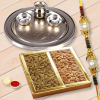 Stunning Gift of Silver Plated Rakhi Thali with One Rakhi and Dry Fruits along for Sacred Raksha Bandhan Celebration