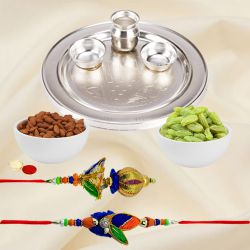 Exquisite Collection of Silver Plated Rakhi Thali and Almonds N Raisins Platter along with 1 Set of Bhaiya N Bhabhi Rakhi for Special Rakhi Festival