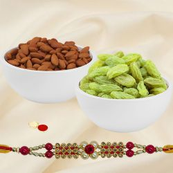 Delightful Grand Gift Set of Om Styled Rakhi and Dry Fruits (Almonds N Raisin) for your Brother