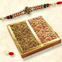 Delightful Grand Gift Set of Om Styled Rakhi and Dry Fruits (Almonds N Raisins) for your Brother