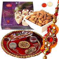 Astonishing Arrangement of Single Rakhi, Almonds N Soan Papdi with Rakhi Thali for Rakhi Celebration