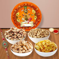 Wonderful Collection of Assorted Dry Fruits N One Rakhi with Thali on Raksha Bandhan