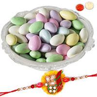Fancy Selection of One Rakhi N Sugar Coated Almonds for Raksha Bandhan Celebration