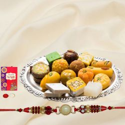 Charming Collection of Assorted Sweets with One Rakhi on Raksha Bandhan