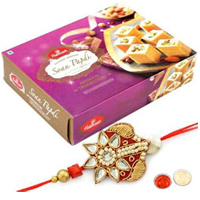 Elegant Arrangement of Single Rakhi N Tasty Soan Papdi for Rakhi Celebration