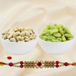 Irresistible Rakhi Gift Pack of Cashew N Raisin with One Rakhi for Special Rakhi Festival