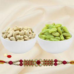 Irresistible Rakhi Gift Pack of Cashew N Raisin with One Rakhi for Special Rakhi Festival