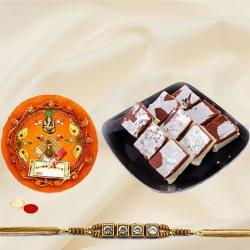 Fancy Rakhi with Rakhi Tray and Haldiram Soan Papri