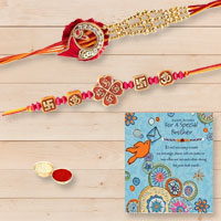 Marvelous Set of Rakhis with One Rakhi Card for Rakhi Celebration