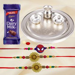 Silver Plated Rakhi Thali with 2 Om Rakhi and 1 Kids Rakhi