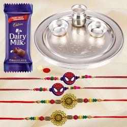 Silver Plated Rakhi Thali with 2 Om Rakhi and 2 Kids Rakhi