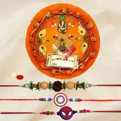 Decorative Rakhi Thali With Bhaiya N Kid Rakhi