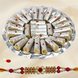 Mesmerizing Rakhi with Kaju Roll Gift Set