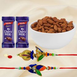 Lavish Bhaiya-Bhabhi Rakhi with Wholesome Almonds Combo