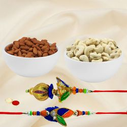 Sweet and Savory Dry Fruit with Bhaiya Bhabhi Rakhi Gift Combo