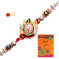Traditional Om Rakhi and Rakhi Card with Thread Rakhi