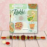 Auspicious Rudraksh Rakhi with Rakhi Card