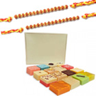 2 Rakhi with Assorted Sweets