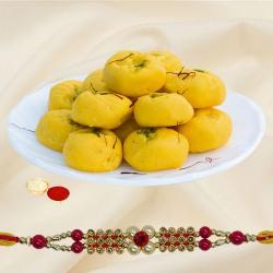 Impressive One Rakhi with Delisious Kesar peda of 500 gm