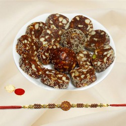 Sumptuous Combo of Khajur Roll (500g) with One Pious Rakhi