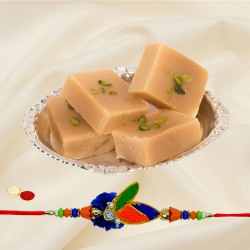 Scintillating Selection of 1 Rakhi with Yummy Mysore Pak of 500 gm