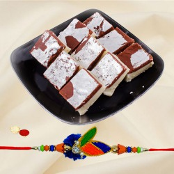 Delectable Pack of Chocolate Barfi-500g with One Stylish Rakhi
