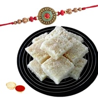Mouth-Watering Coconut Barfi Pack of 500 gm with 1 Fancy Rakhi