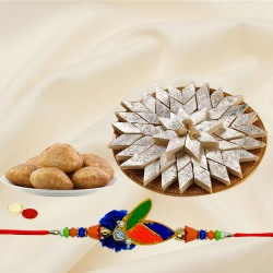 Rakhi with Kachori And Kaju Katli
