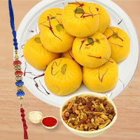 Kesar Peda With Mix Namkeen And Elegant Rakhi