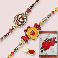 Charming Present of Two Fancy Rakhi