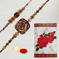 Fashionable Display of 2 Designer Rakhi