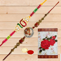 Traditional Gift of One Pair Designer Rakhi