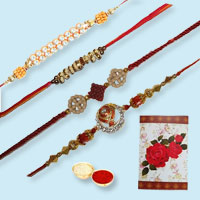 Seductive Gift Selection of 4 Trendy Rakhi