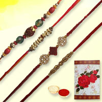 Smart-Looking Gift Set of Four Trendy Rakhi