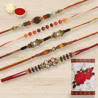 Attractive Five Designer Rakhi Gift Set