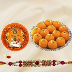 Fantastic Gift of Motichur Ladoo, Rakhi Thali with One Pious Rakhi, Roli Teeka N Chawal
