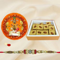 Fantastic Collection of Patisa Pack, Decorative Rakhi Thali with One Trendy Rakhi, Roli Teeka N Chawal