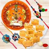 Delectable Pack of Mysore Pak with Rakhi Thali N One Bhai Bhabhi Family Rakhi Set with 2 Kids Rakhi