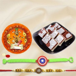 Impressive Selection of 1 Adult Rakhi, 1 Kids Rakhi N Chocolate Barfi Pack with Rakhi Thali