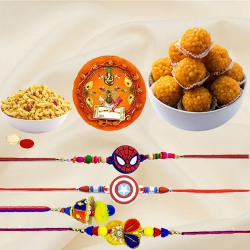 Scintillating Presentation of Rakhi Thali with One Rakhi Lumba Set for Bhai Bhabhi, Two Kids Rakhi, Boondi Ladoo N Masala Peanuts
